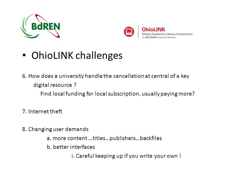 OhioLINK challenges 9.