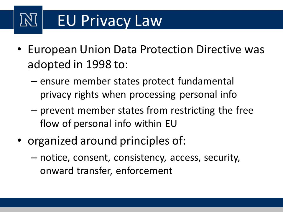 EU Privacy Law European Union Data Protection Directive was adopted in 1998 to: – ensure member states protect fundamental privacy rights when process