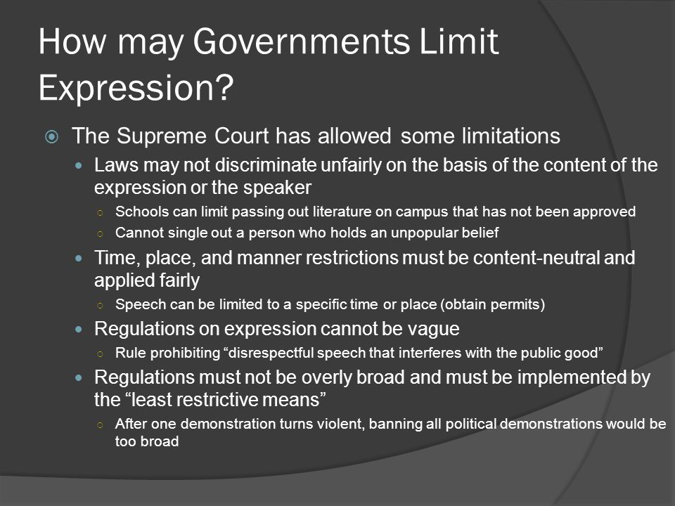 How may Governments Limit Expression.