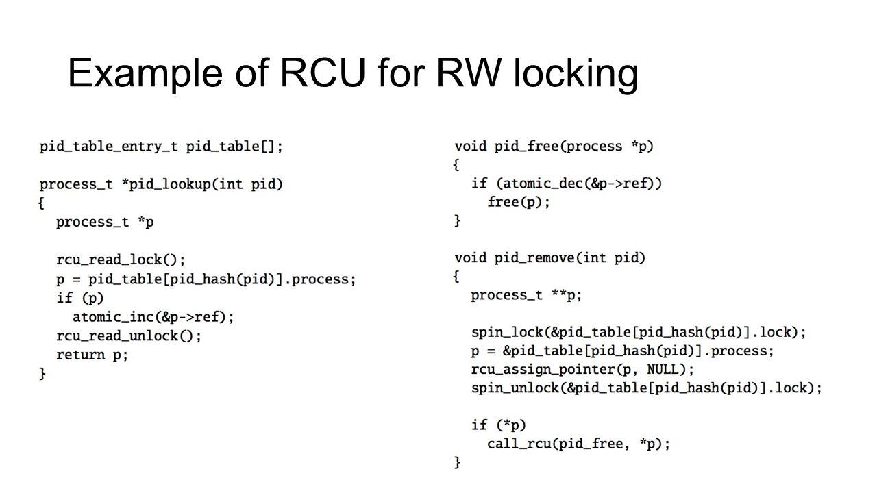 Example of RCU for RW locking