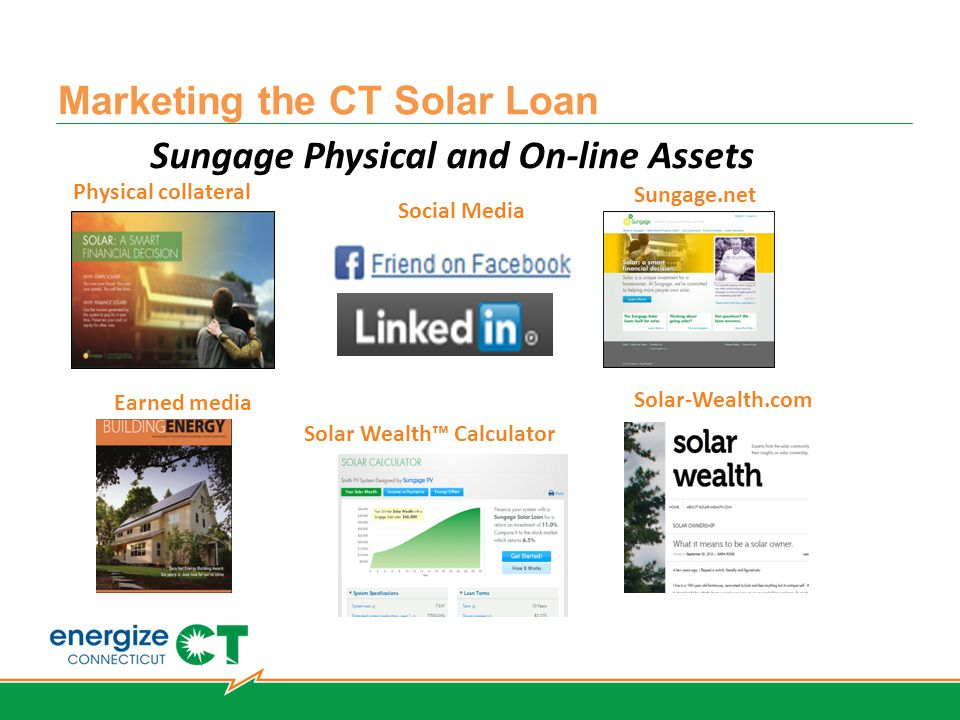 Marketing the CT Solar Loan Sungage Physical and On-line Assets Physical collateral Sungage.net Solar Wealth™ Calculator Solar-Wealth.com Earned media