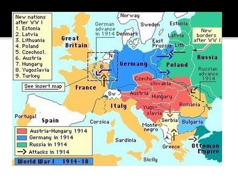 Russia mobilizes for war Germany declares war on Russia France declares war on Germany Germany declares war on neural Belgium (access to France) Great Britain declares war on Germany