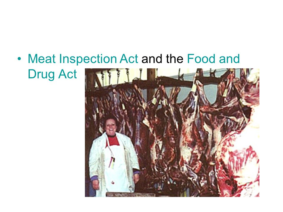 Other Reforms: Pure Food and Drug Act – Forbid the manufacture, sale, or transportation of food or drugs containing harmful ingredients Meat Inspectio