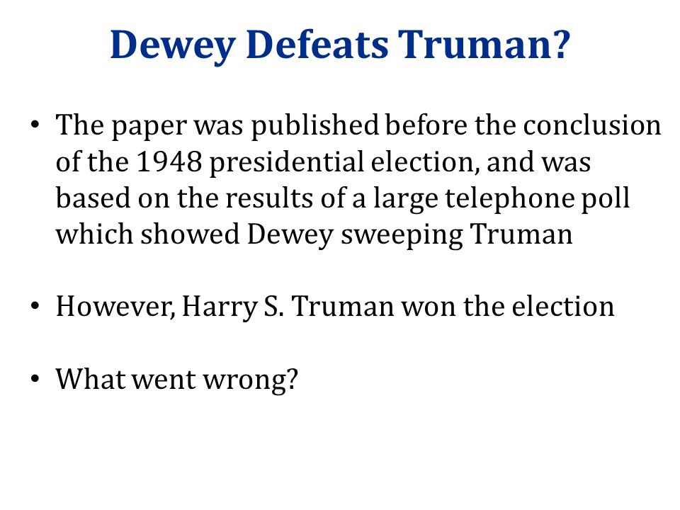 Dewey Defeats Truman?