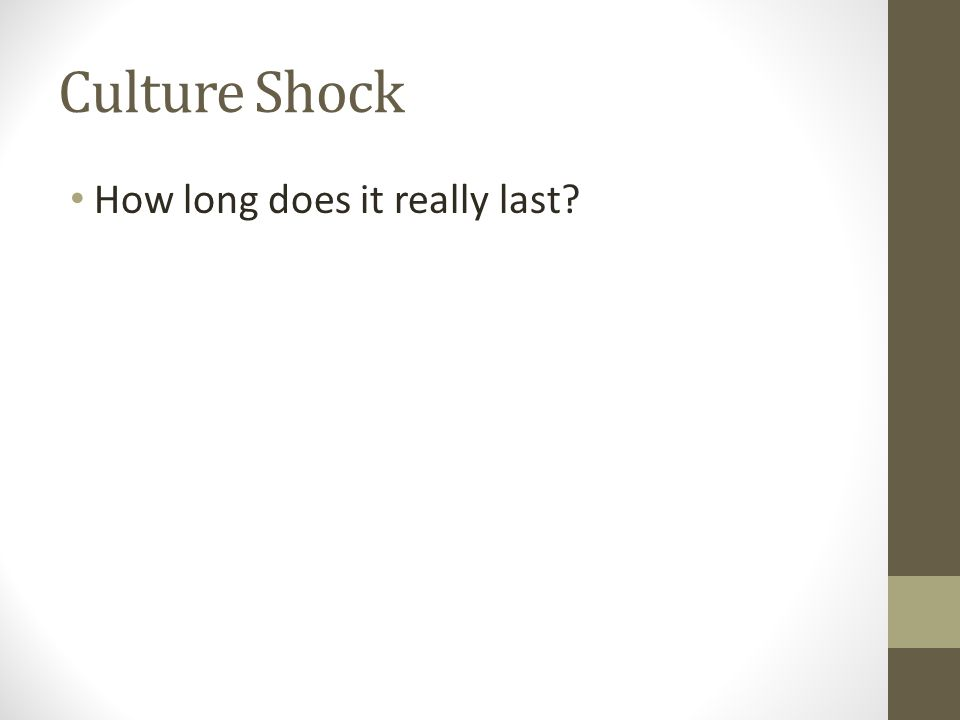 Culture Shock How long does it really last