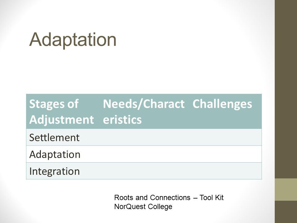 Adaptation Stages of Adjustment Needs/Charact eristics Challenges Settlement Adaptation Integration Roots and Connections – Tool Kit NorQuest College