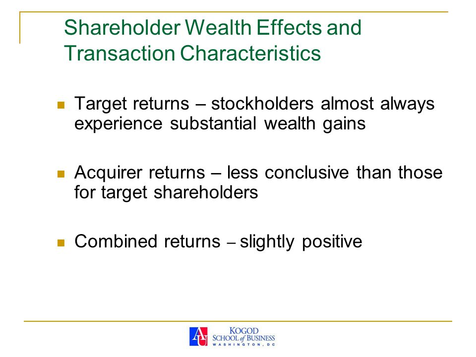 Shareholder Wealth Effects and Transaction Characteristics Target returns – stockholders almost always experience substantial wealth gains Acquirer re