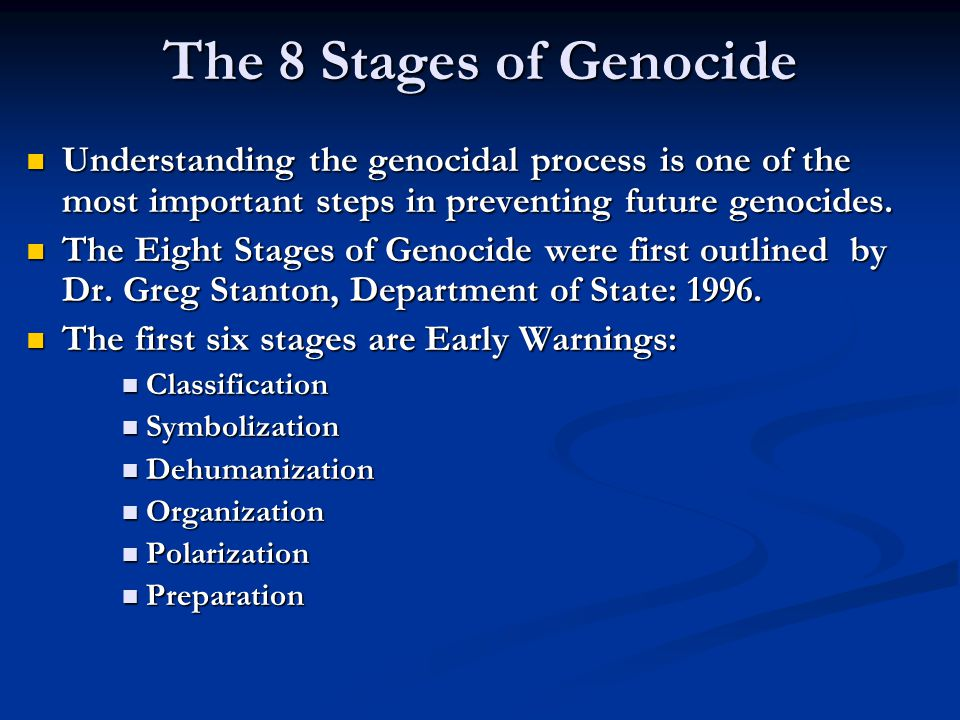 Stage 1: Classification Us versus them Us versus them Distinguish by nationality, ethnicity, race, or religion.