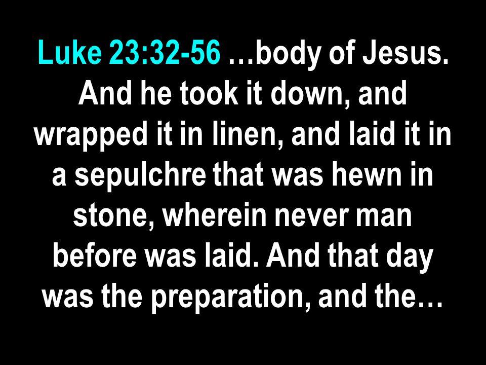 Luke 23:32-56 …body of Jesus.