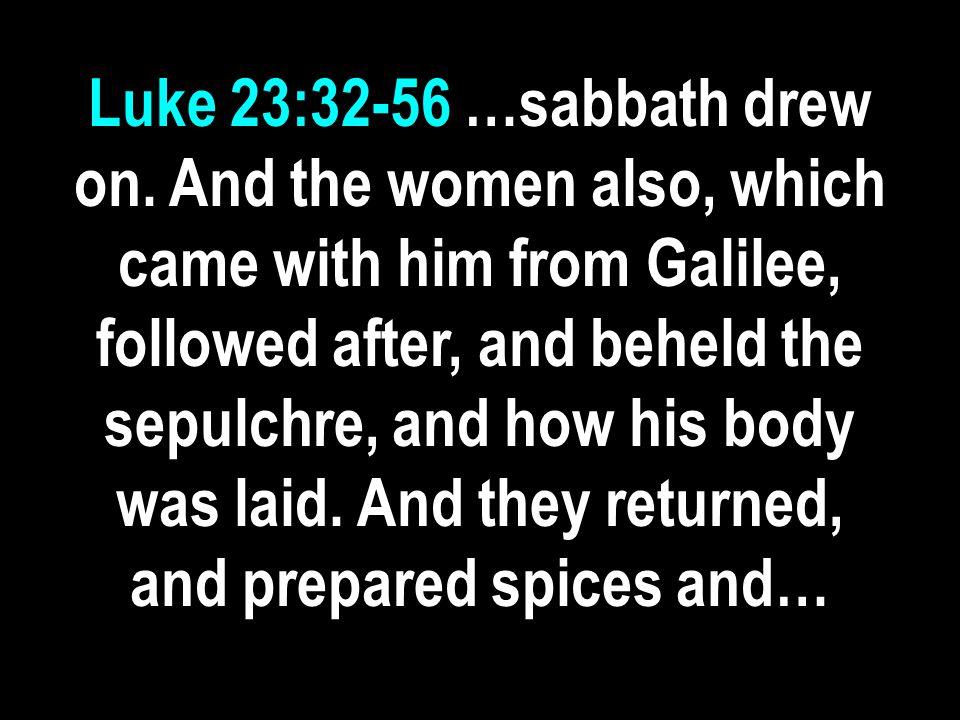 Luke 23:32-56 …sabbath drew on.