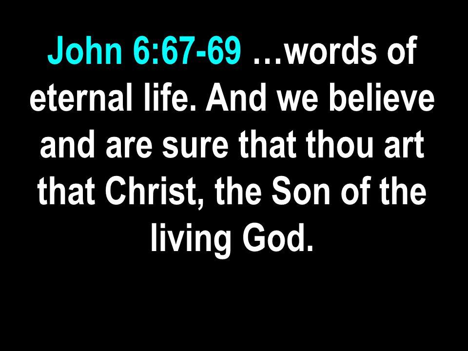 John 6:67-69 …words of eternal life.