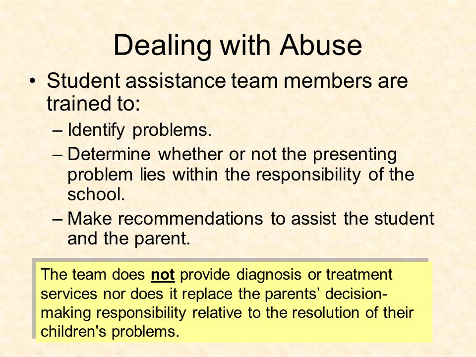 Dealing with Abuse Student assistance team members are trained to: –Identify problems.