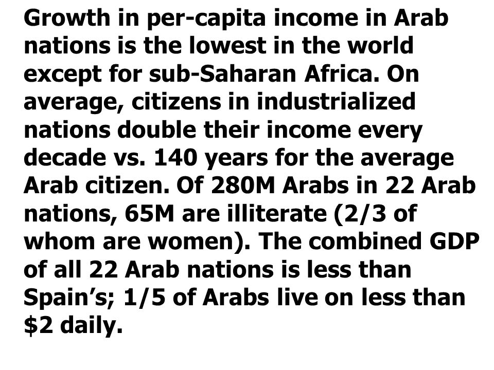 Growth in per-capita income in Arab nations is the lowest in the world except for sub-Saharan Africa. On average, citizens in industrialized nations d