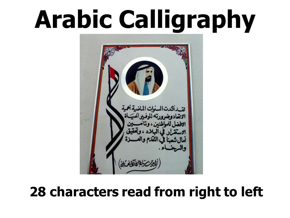 Arabic Calligraphy 28 characters read from right to left