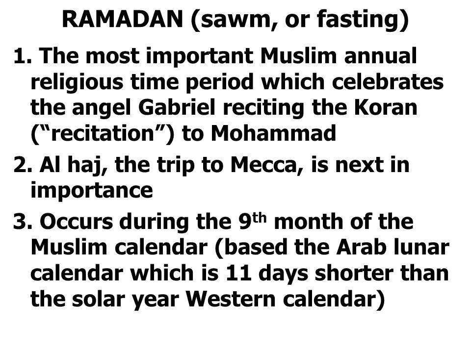 RAMADAN (sawm, or fasting) 1.
