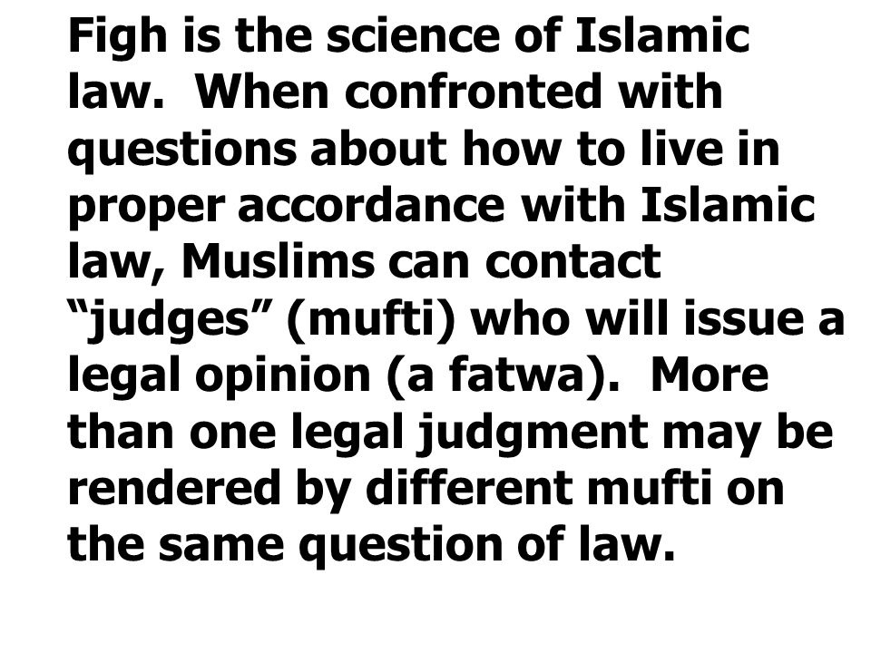 """Figh is the science of Islamic law. When confronted with questions about how to live in proper accordance with Islamic law, Muslims can contact """"judge"""