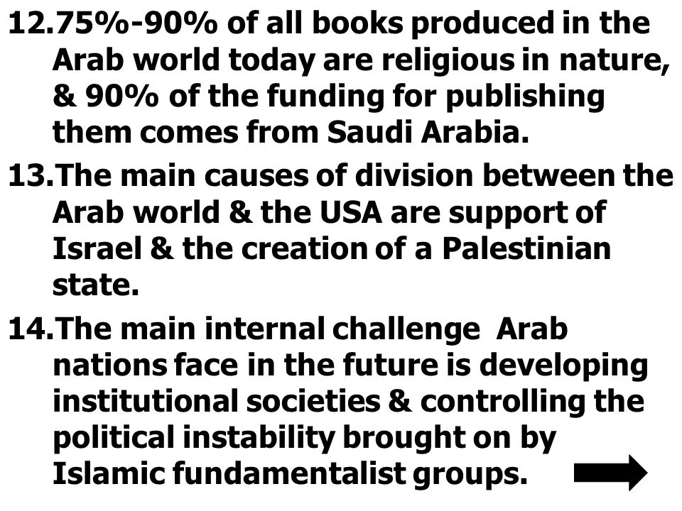12.75%-90% of all books produced in the Arab world today are religious in nature, & 90% of the funding for publishing them comes from Saudi Arabia.
