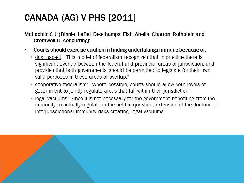 CANADA (AG) V PHS [2011] McLachlin C.J. (Binnie, LeBel, Deschamps, Fish, Abella, Charron, Rothstein and Cromwell JJ. concurring): Courts should exerci