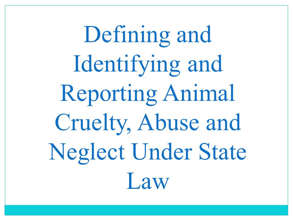 Defining and Identifying and Reporting Animal Cruelty, Abuse and Neglect Under State Law