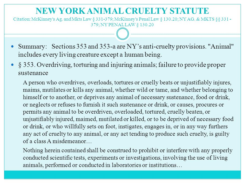 NEW YORK ANIMAL CRUELTY STATUTE Citation: McKinney s Ag.