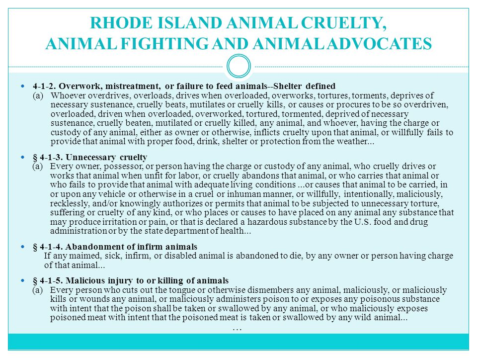 RHODE ISLAND ANIMAL CRUELTY, ANIMAL FIGHTING AND ANIMAL ADVOCATES 4-1-2.