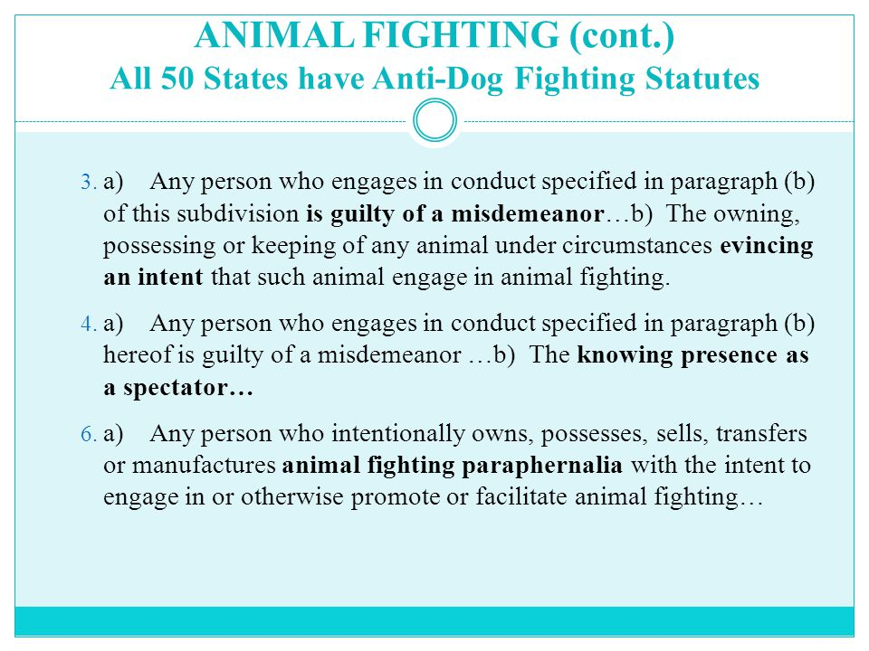 ANIMAL FIGHTING (cont.) All 50 States have Anti-Dog Fighting Statutes 3.