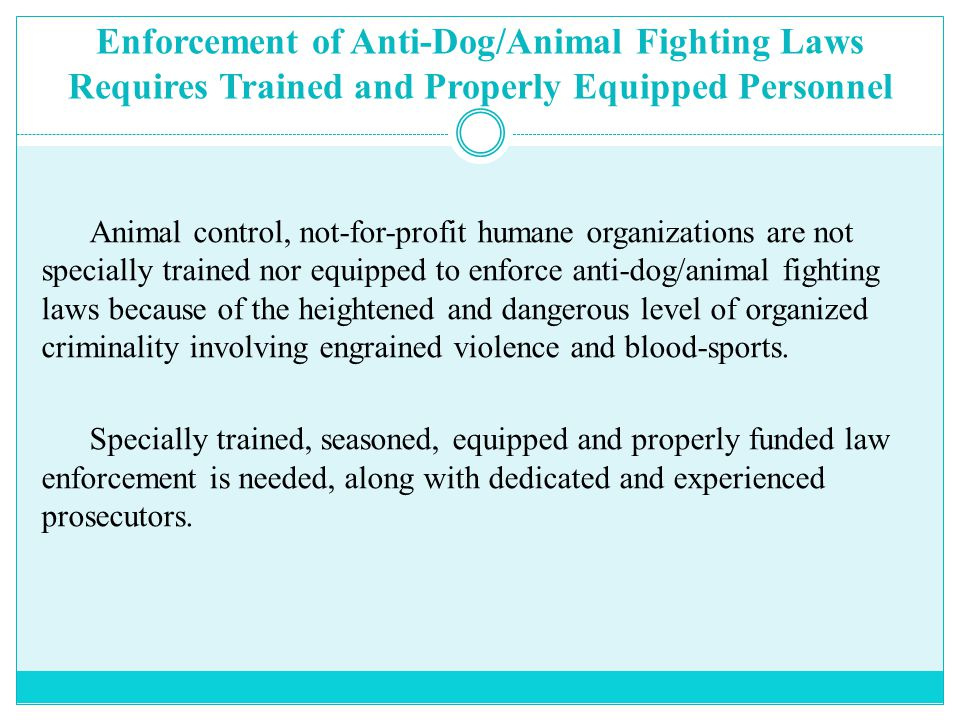 Enforcement of Anti-Dog/Animal Fighting Laws Requires Trained and Properly Equipped Personnel Animal control, not-for-profit humane organizations are not specially trained nor equipped to enforce anti-dog/animal fighting laws because of the heightened and dangerous level of organized criminality involving engrained violence and blood-sports.