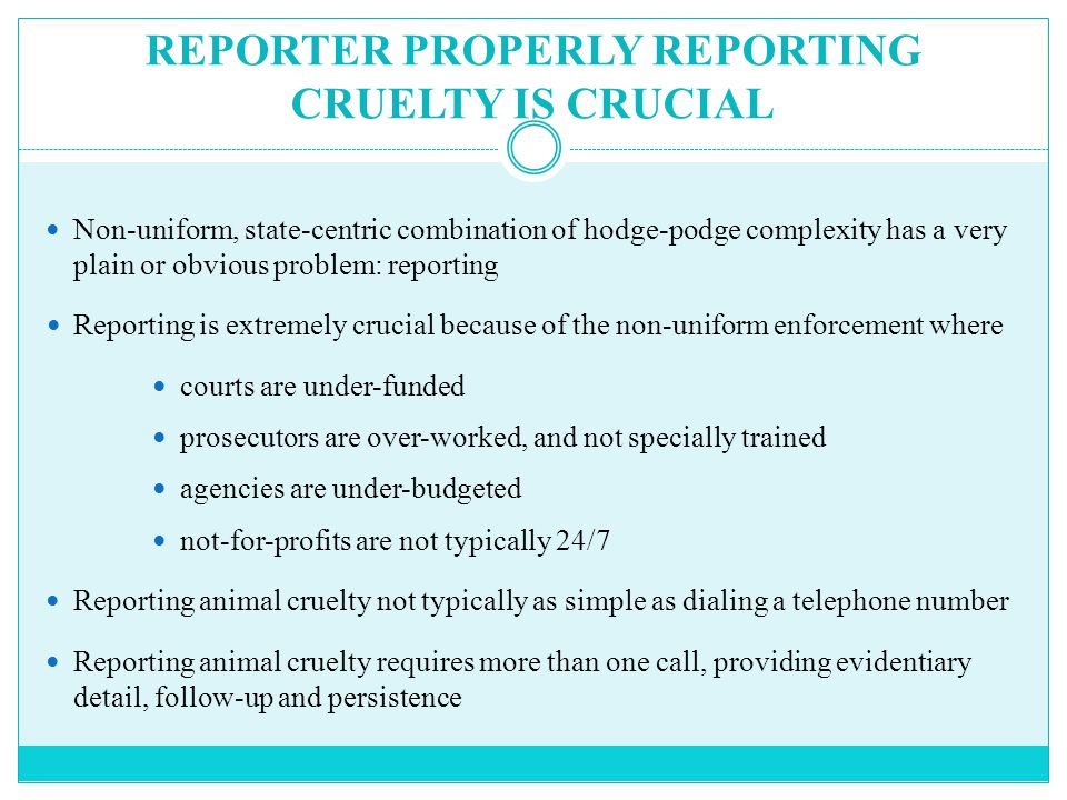 REPORTER PROPERLY REPORTING CRUELTY IS CRUCIAL Non-uniform, state-centric combination of hodge-podge complexity has a very plain or obvious problem: reporting Reporting is extremely crucial because of the non-uniform enforcement where courts are under-funded prosecutors are over-worked, and not specially trained agencies are under-budgeted not-for-profits are not typically 24/7 Reporting animal cruelty not typically as simple as dialing a telephone number Reporting animal cruelty requires more than one call, providing evidentiary detail, follow-up and persistence