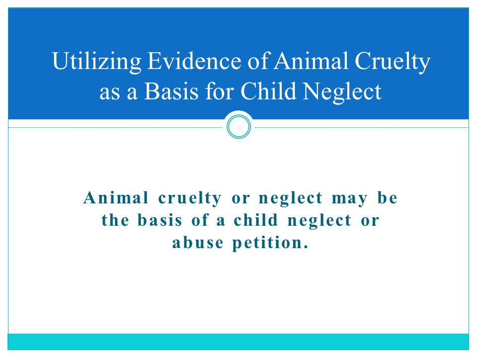 Animal cruelty or neglect may be the basis of a child neglect or abuse petition.