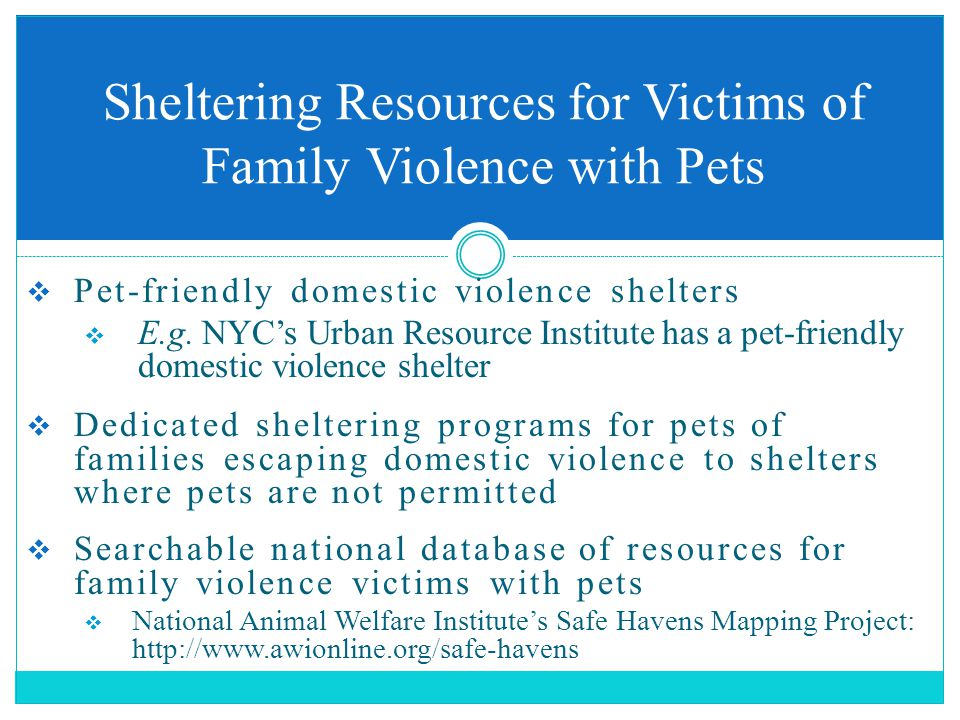  Pet-friendly domestic violence shelters  E.g.
