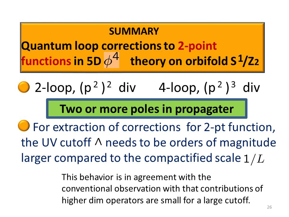 26 1 Quantum loop corrections to 2-point functions in 5D theory on orbifold S /Z 2 2-loop, (p ) div 2 4-loop, (p ) div 2 3 For extraction of corrections for 2-pt function, the UV cutoff needs to be orders of magnitude larger compared to the compactified scale This behavior is in agreement with the conventional observation with that contributions of higher dim operators are small for a large cutoff.
