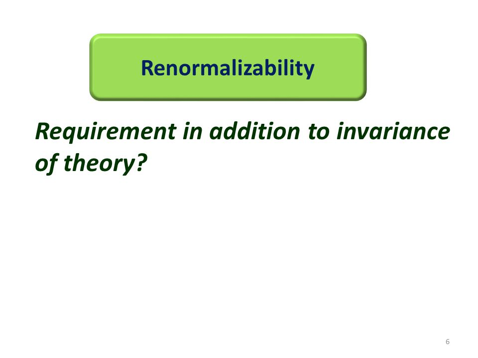 Renormalizability Requirement in addition to invariance of theory? 6