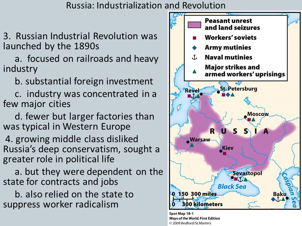 Russia: Industrialization and Revolution 3. Russian Industrial Revolution was launched by the 1890s a. focused on railroads and heavy industry b. subs