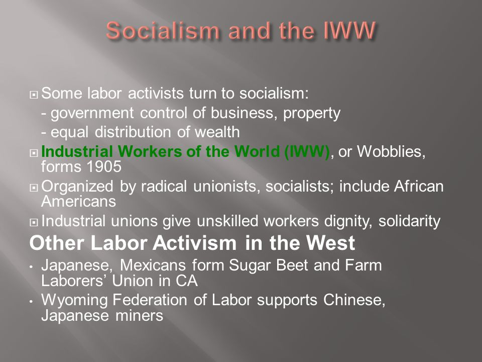  Some labor activists turn to socialism: - government control of business, property - equal distribution of wealth  Industrial Workers of the World