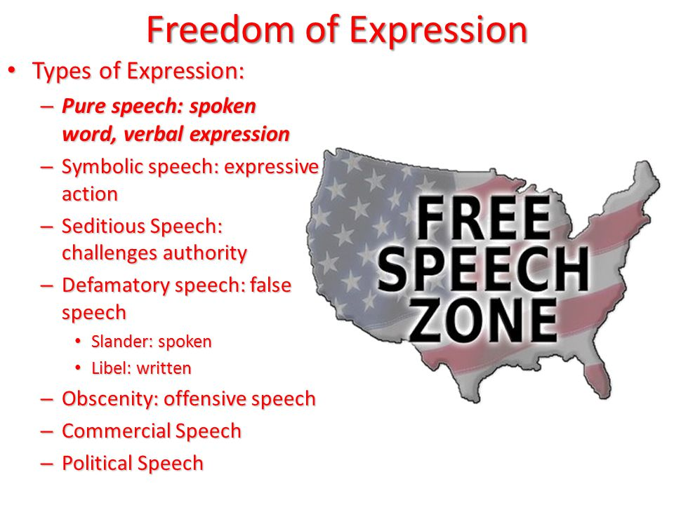 Freedom of Expression Types of Expression: Types of Expression: – Pure speech: spoken word, verbal expression – Symbolic speech: expressive action – Seditious Speech: challenges authority – Defamatory speech: false speech Slander: spoken Slander: spoken Libel: written Libel: written – Obscenity: offensive speech – Commercial Speech – Political Speech
