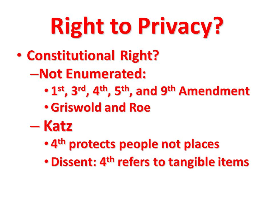 Right to Privacy.Constitutional Right. Constitutional Right.
