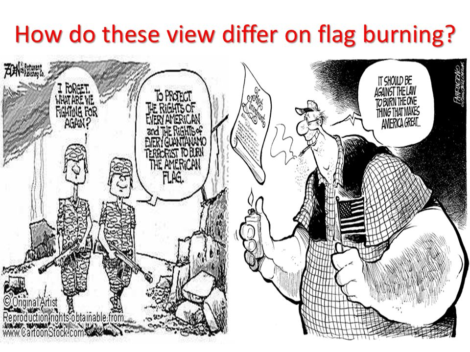 How do these view differ on flag burning?