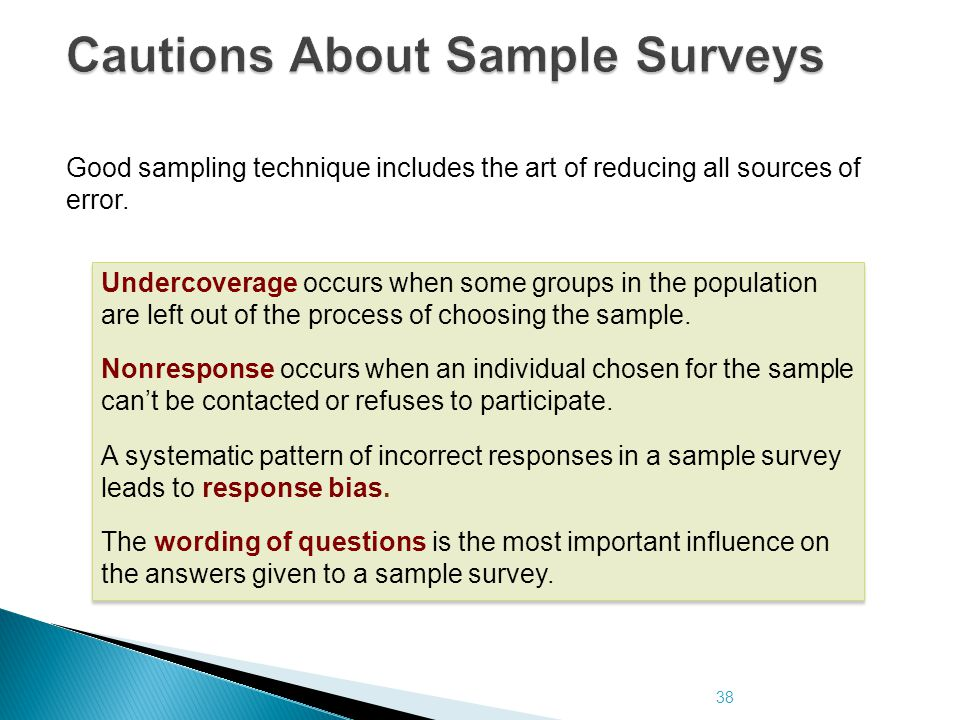 38 Cautions About Sample Surveys Good sampling technique includes the art of reducing all sources of error. Undercoverage occurs when some groups in t