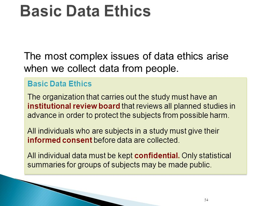 Basic Data Ethics The most complex issues of data ethics arise when we collect data from people. Basic Data Ethics The organization that carries out t