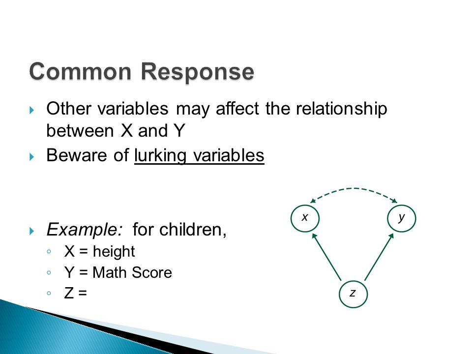  Other variables may affect the relationship between X and Y  Beware of lurking variables  Example: for children, ◦ X = height ◦ Y = Math Score ◦ Z