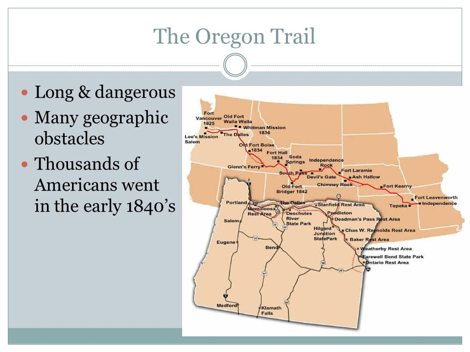 The Oregon Trail Long & dangerous Many geographic obstacles Thousands of Americans went in the early 1840's