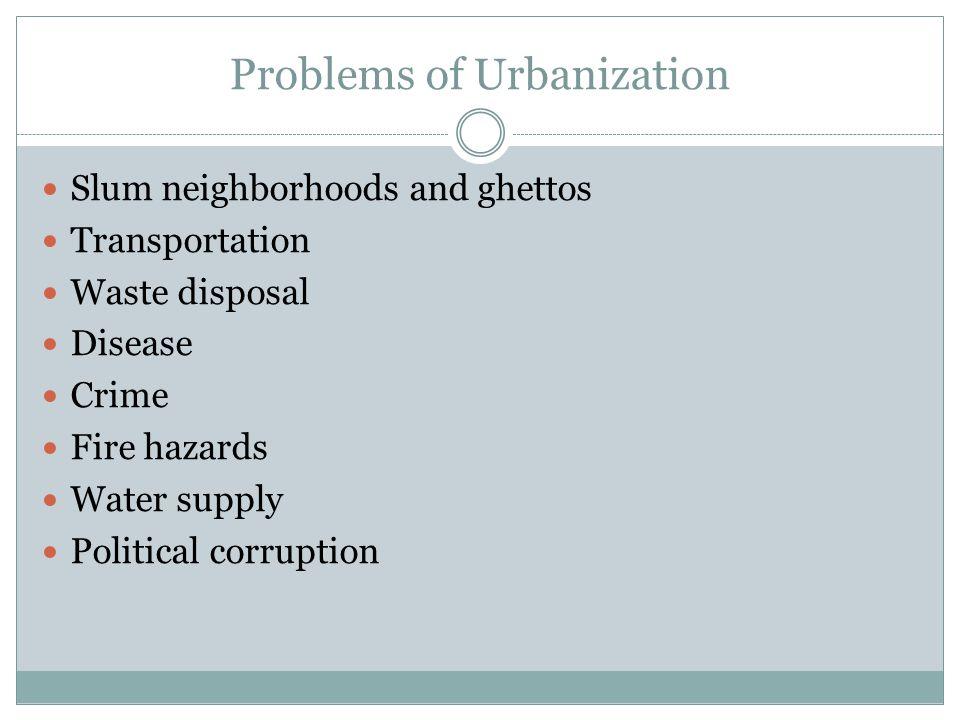 Problems of Urbanization Slum neighborhoods and ghettos Transportation Waste disposal Disease Crime Fire hazards Water supply Political corruption