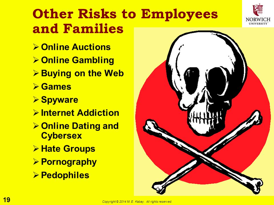 19 Copyright © 2014 M. E. Kabay. All rights reserved. Other Risks to Employees and Families  Online Auctions  Online Gambling  Buying on the Web 