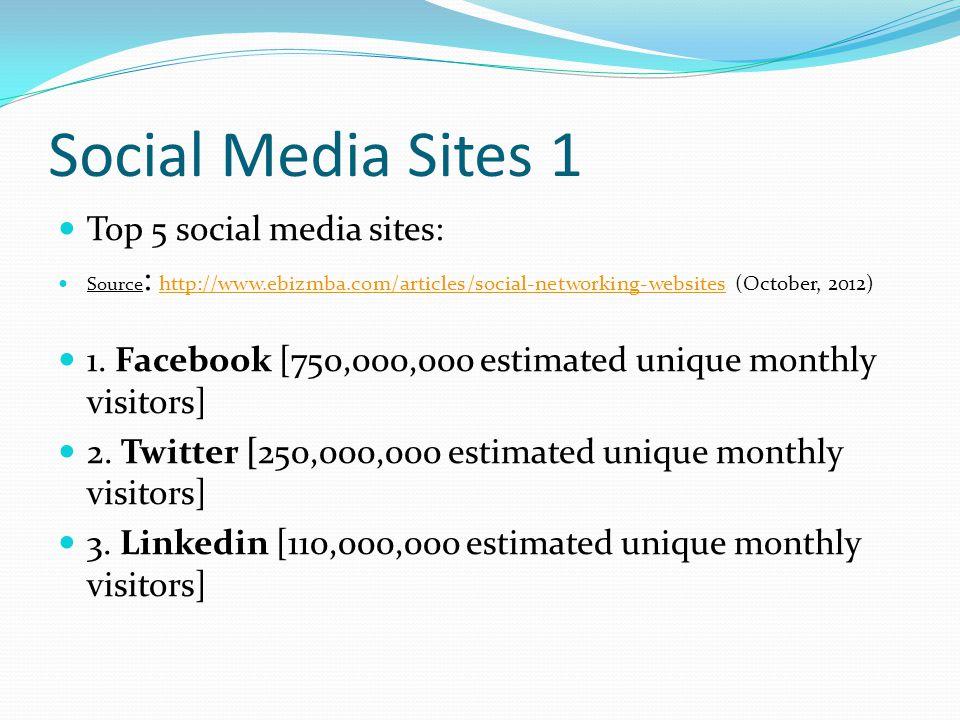 Social Media Sites 2 4.MySpace [70,500,000 estimated unique monthly visitors] 5.