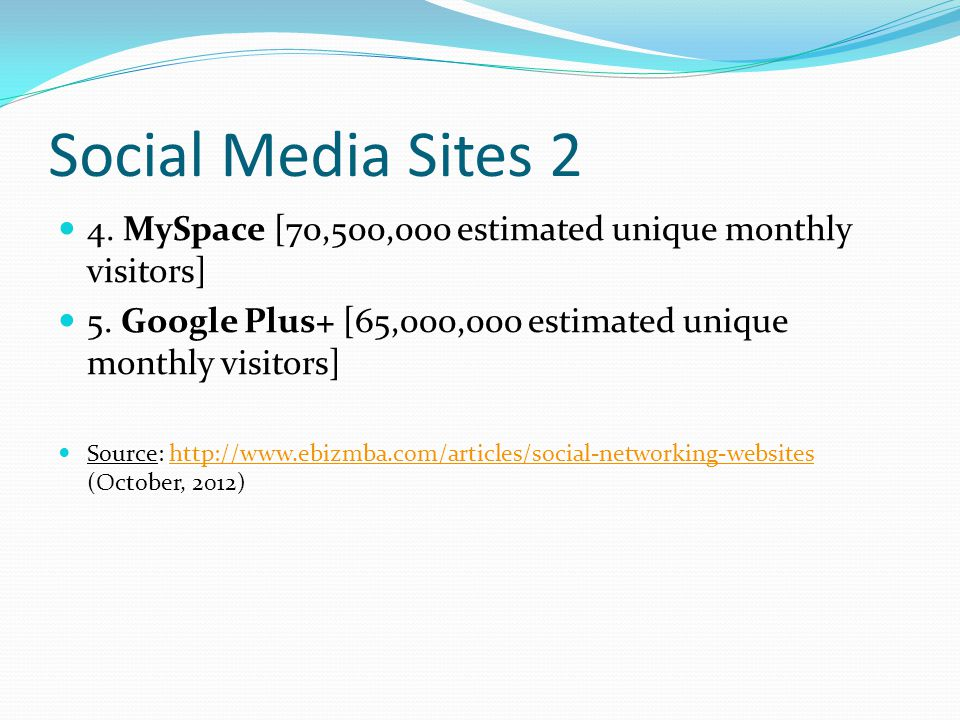 Social Media Sites 2 4. MySpace [70,500,000 estimated unique monthly visitors] 5.