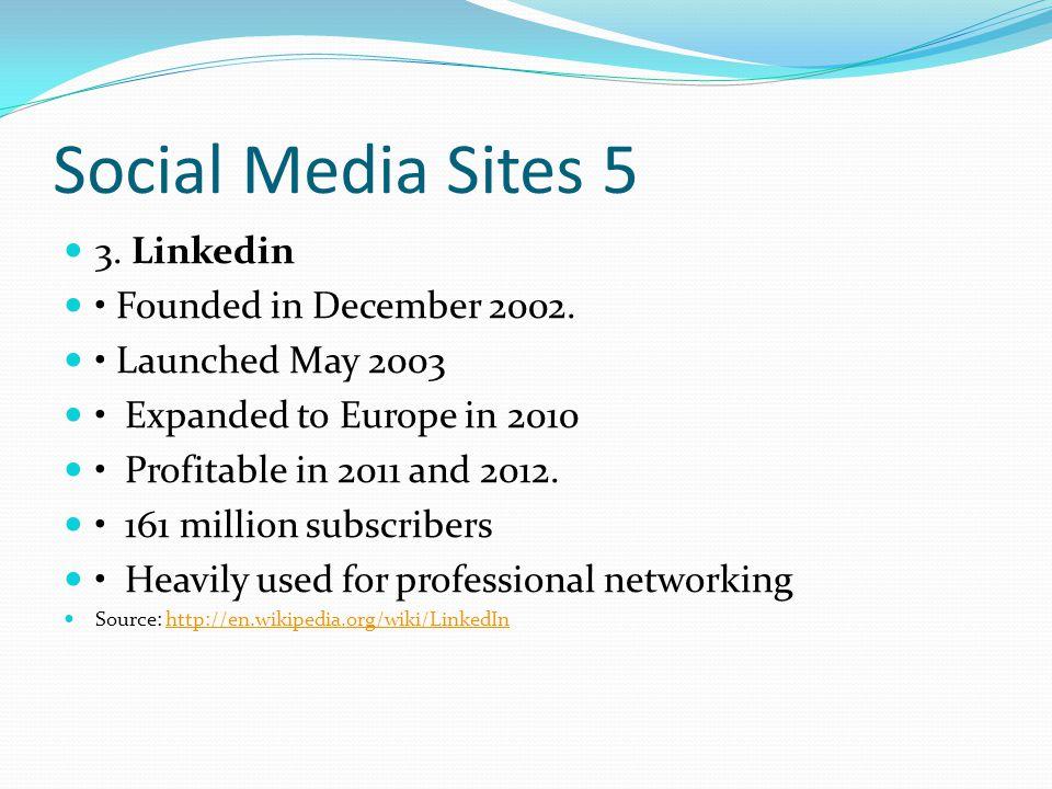 Social Media Sites 5 3. Linkedin Founded in December 2002.