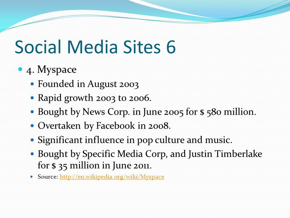 Social Media sites 7 5.