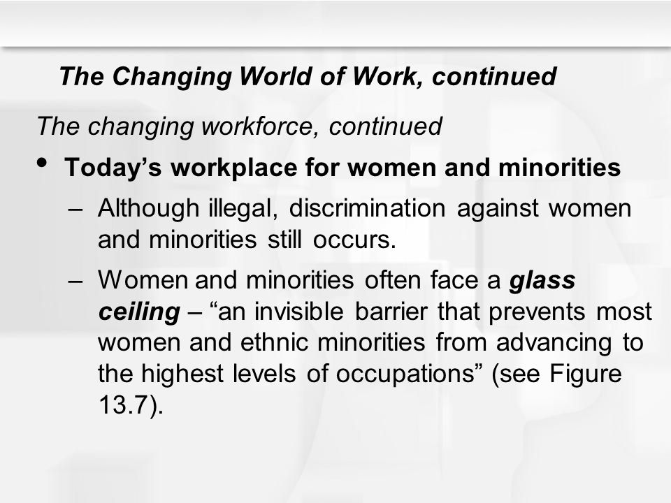 The Changing World of Work, continued The changing workforce, continued Today's workplace for women and minorities –Although illegal, discrimination a