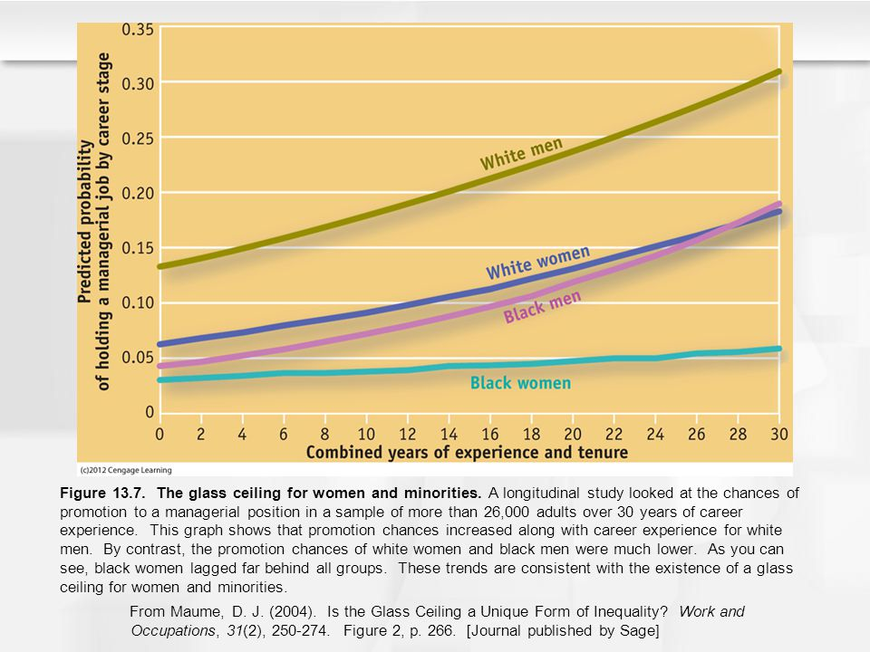 Figure 13.7. The glass ceiling for women and minorities. A longitudinal study looked at the chances of promotion to a managerial position in a sample