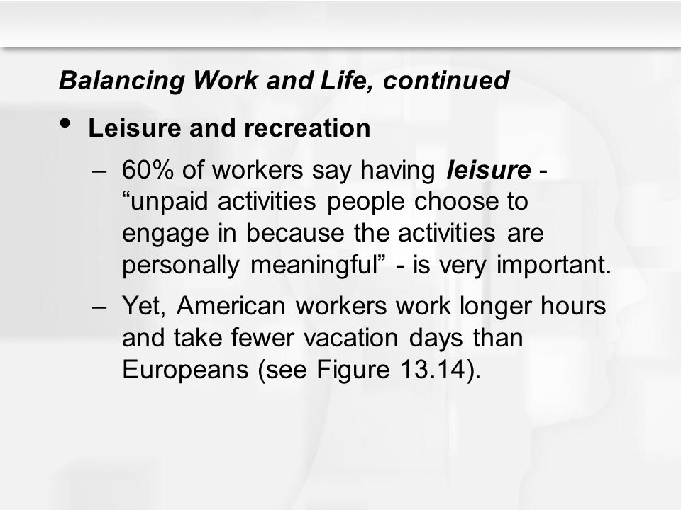 "Balancing Work and Life, continued Leisure and recreation –60% of workers say having leisure - ""unpaid activities people choose to engage in because t"